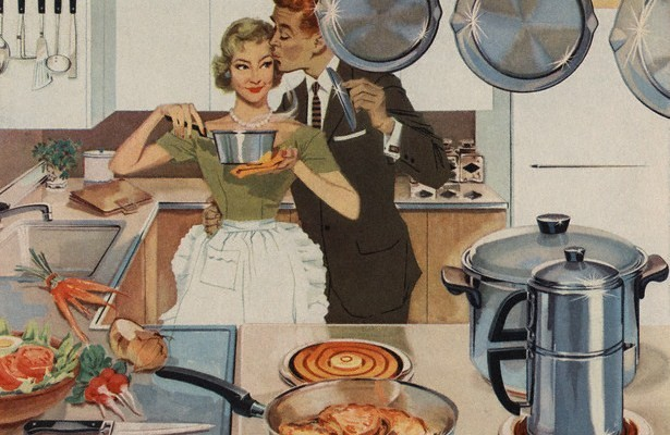 Magazine Illustration of Husband Kissing Wife in Kitchen